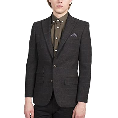 211ba2c13e9d HARRY BROWN Charcoal Check Wool Tailored Blazer  Amazon.co.uk  Clothing
