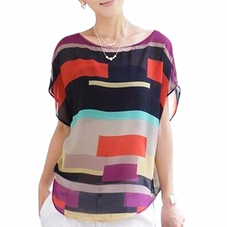 50%OFF Plage De Femmes Blouse Multi-Couleurs Irregulieres Stripes En  Mousseline De Soie 77e7c9d767a