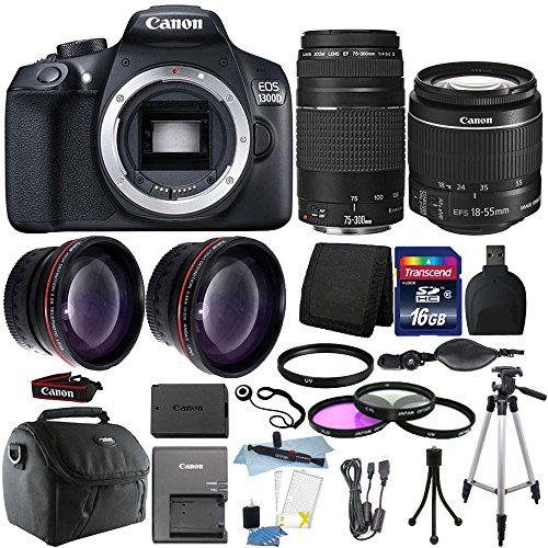 Cheap Canon EOS Rebel 1300D / T6 18MP DSLR Camera with 18-55mm EF-S f/3.5-5.6 + EF 75-300mm Zoom Lens + 16GB Accessory Kit