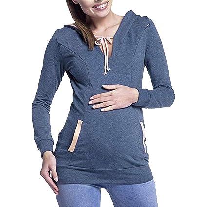 Longra❤ ❤️Sudadera Madre Embarazada, Cremallera Conveniente Lactancia Tops Blusa: Amazon.es: Ropa y accesorios