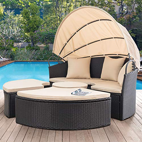 Devoko Outdoor Patio Round Daybed 5 Pieces Wicker Rattan Furniture Sets All-Weather Seating Sofa Lawn Garden Backyard Daybed with Retractable Canopy (Balck)
