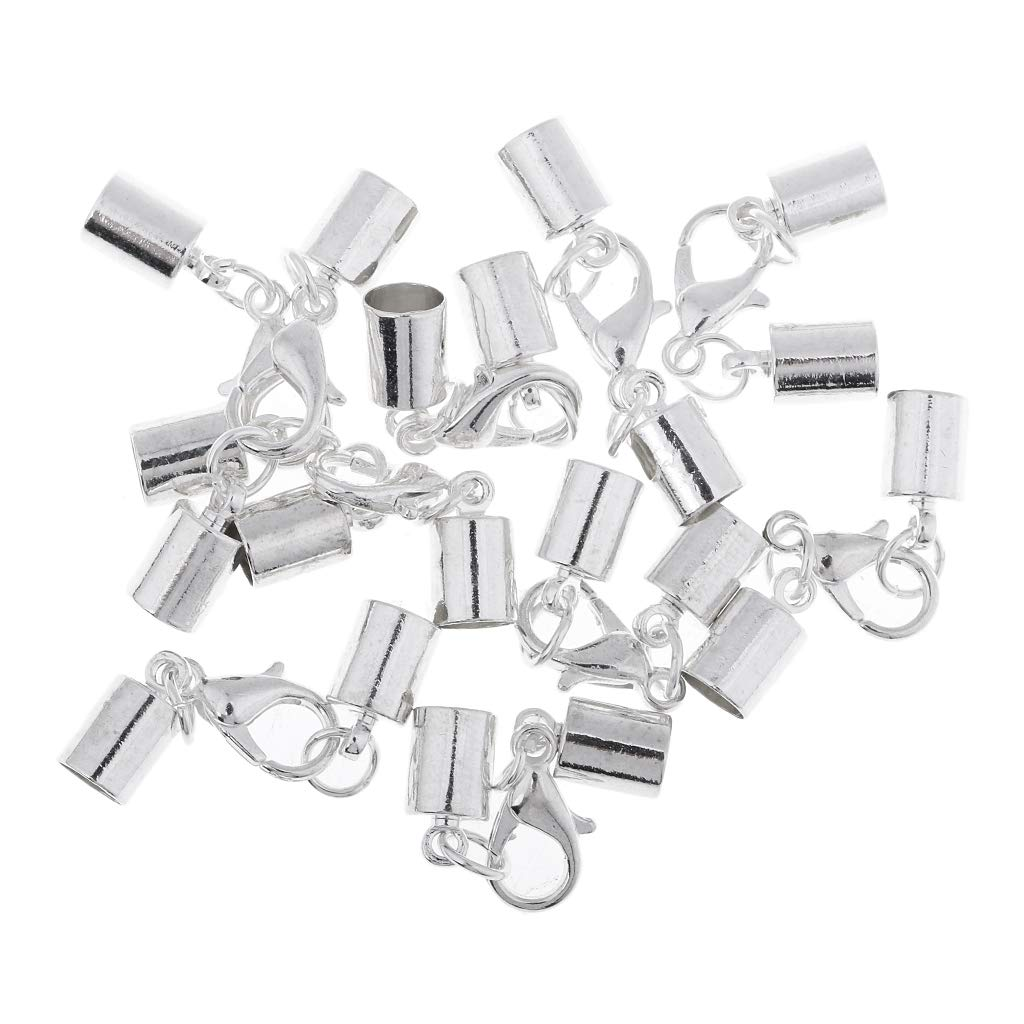 B Baosity 10 Piece Silver Kumihimo Leather Cord End Caps with Lobster Clasp Jewelry Making Findings