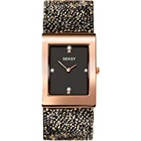 Seksy Rocks® Collection Rectangular Dial Swarovski® Stone Set Bracelet Ladies Watch
