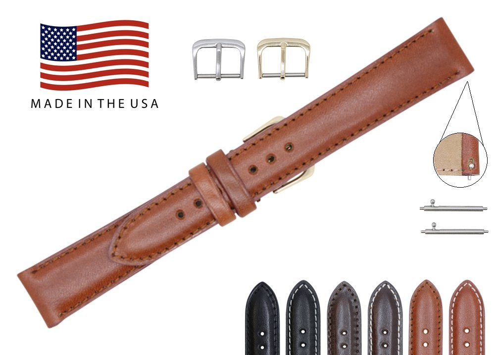 Quick Release American Saddle Genuine Leather Watch Strap Band – American Factory Direct - Gold & Silver Buckles – Made in USA by Real Leather Creations 17mm Cognac FBA770