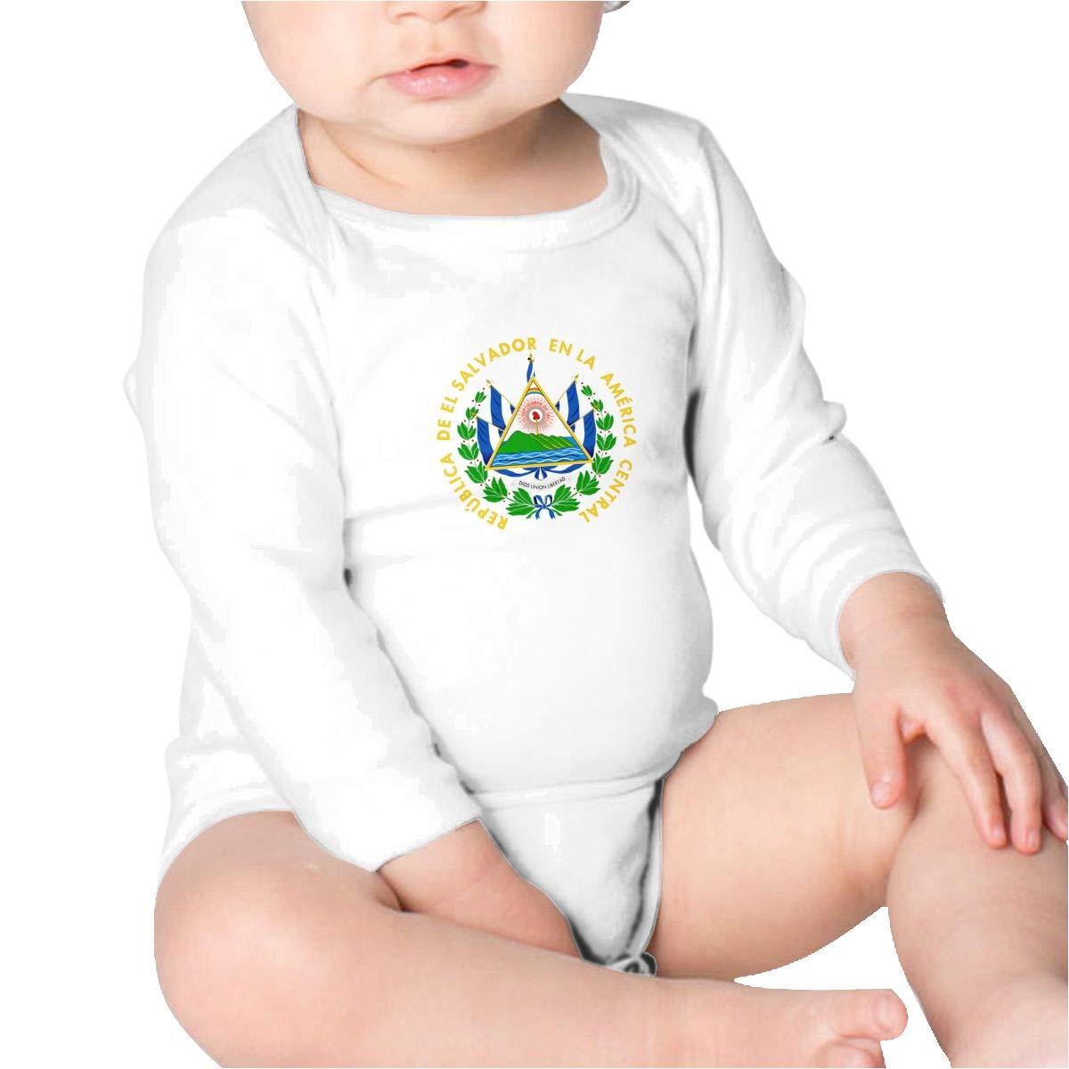 Pikaqiuleilei Coat of Arms of El Salvador Baby Cotton,Long Sleeve Creeping Suit