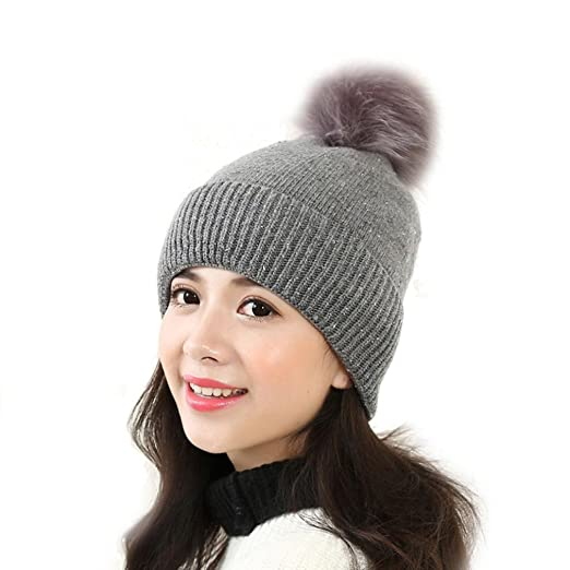 Amiley Women Knit Warm Crochet Fur Pom Pom Hat Braided Baggy Beret