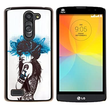 f1176c7a5db12 LECELL--Protective Case / Cover / Skin For LG L Bello L Prime -- Smoking Girl  Butterfly Tattoo --: Amazon.co.uk: Electronics