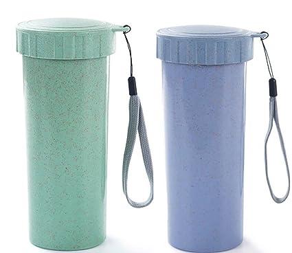 happelf ambiental Copa de plástico a prueba de fugas botella de agua vaso para cepillos de