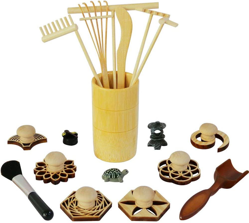Zen Garden Rake Stamp Tools - Meditation Rock Sand Garden Accessories – Office Desktop Mini Zen Gifts for Man Women Bamboo Rakes Holder Brusher Spoon Figurines