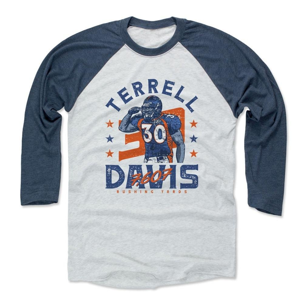 500レベルのTerrell Davis 3 /第4スリーブ野球Tシャツ – Vintage Denver Footballファンギア&スポーツアパレル – Terrell DavisヤードB Medium インディゴ/アッシュ B074WKTFKN