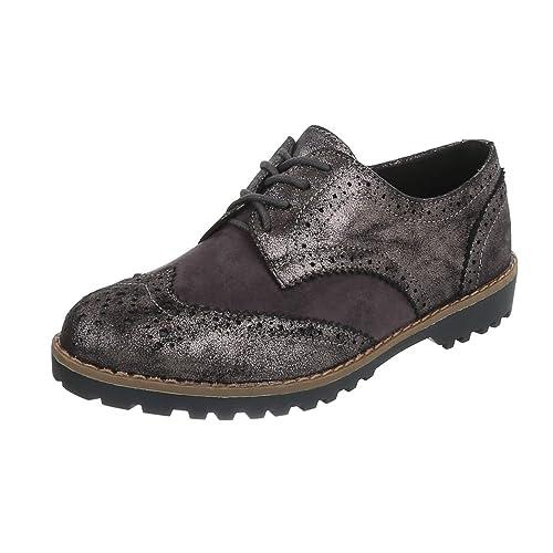 Ital-Design Zapatos Planos con Cordones Mujer, Color Negro, Talla 37