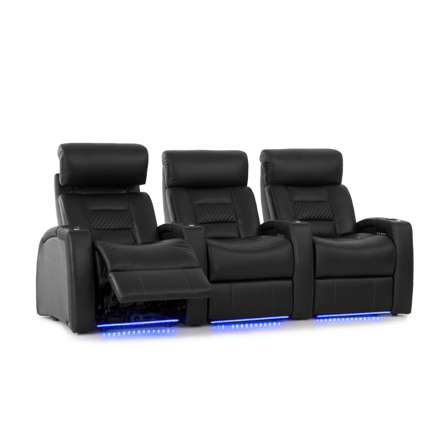 Octane Seating Flex HR Home Theatre Seating - Black Top Grain Leather - Power Recline - Lighted Cup Holders - Row of 3 Seats by Octane Seating