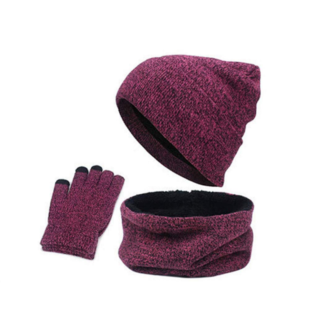 Sikye 3Pcs Knitted Wool Winter Hat Warm Cap+ Scarf + Touch Screen Gloves Combination Suit Unisex for Men Women (A)