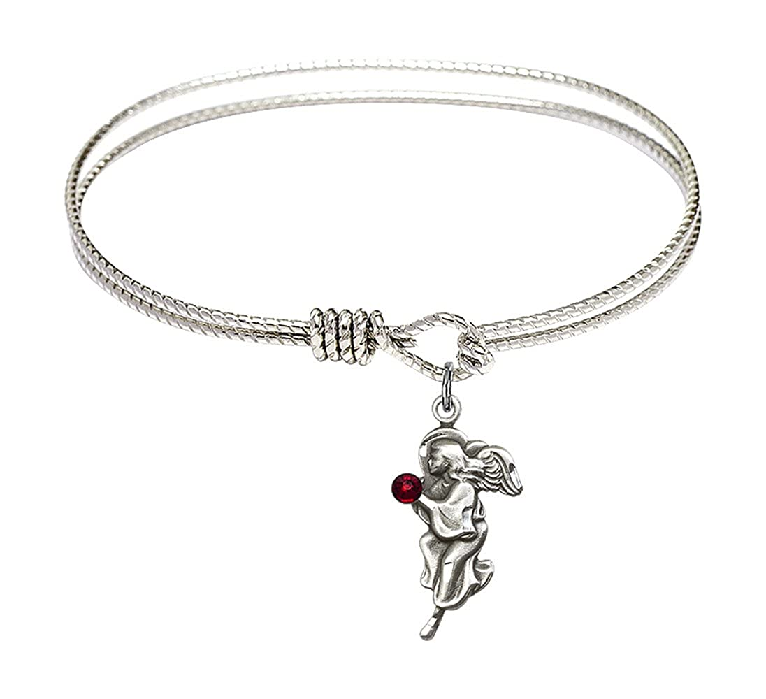 6 1//4 inch Oval Eye Hook Bangle Bracelet with a Guardian Angel charm.