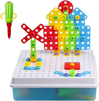 Construction Toys 3D Building Block Creative Puzzle DIY Set for Children Ages 3
