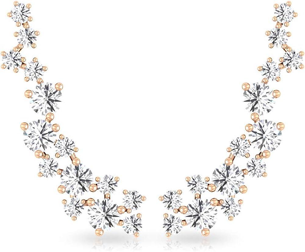 Pendientes de cartílago de diamante certificado IGI de 0,25 quilates, para mujer, IJ-SI, con orejas de diamante, para boda, cumpleaños, aniversario, 18K Oro rosa, Par