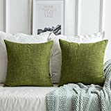 MIULEE Pack of 2 Decorative Linen Burlap Pillow Cover Square Solid Throw Cushion Case for Sofa Car Couch 18x18 Inch 45x45 Cm Green