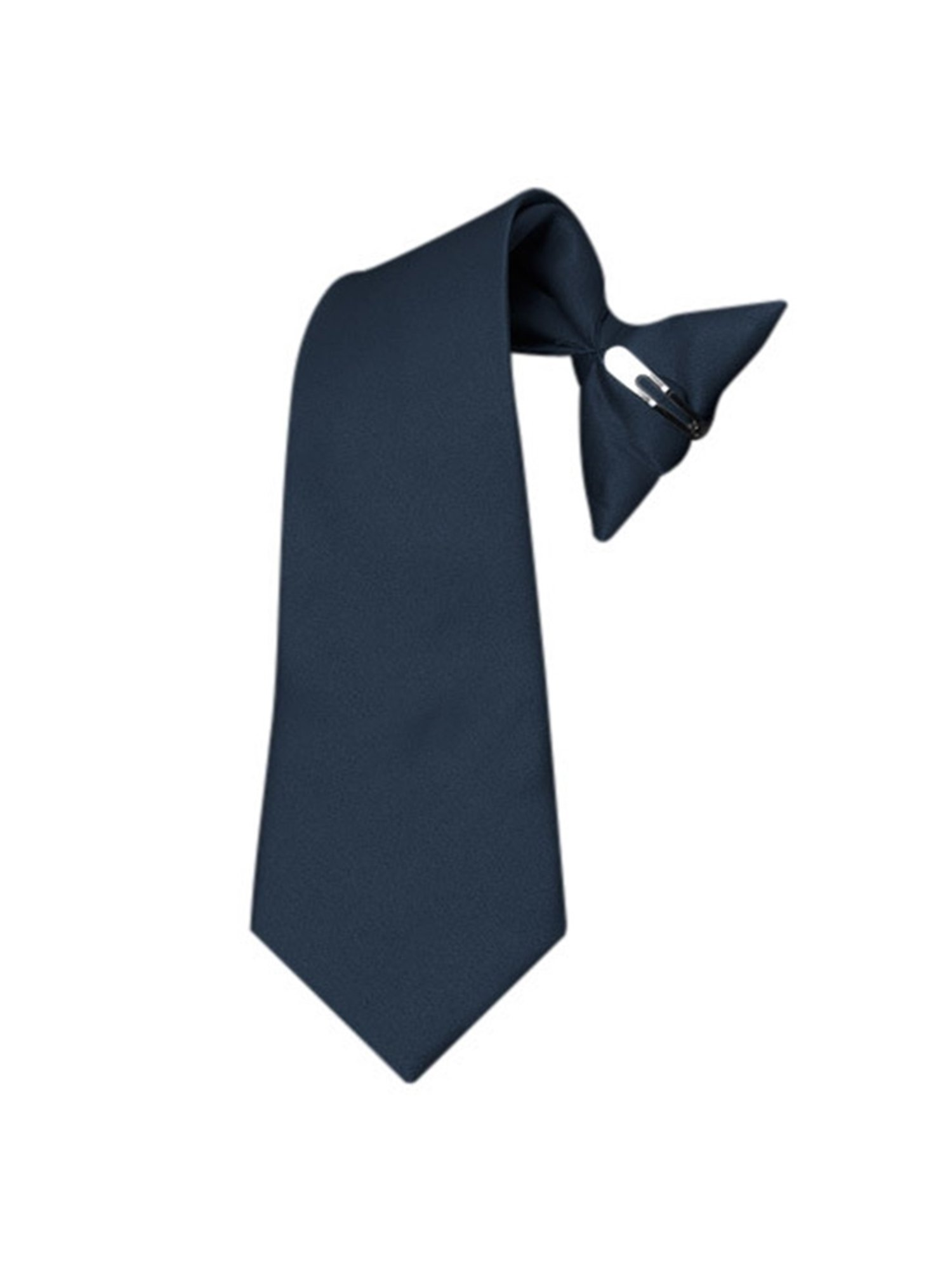 Boy's Navy Solid Color Pre-tied Clip On Neck Tie