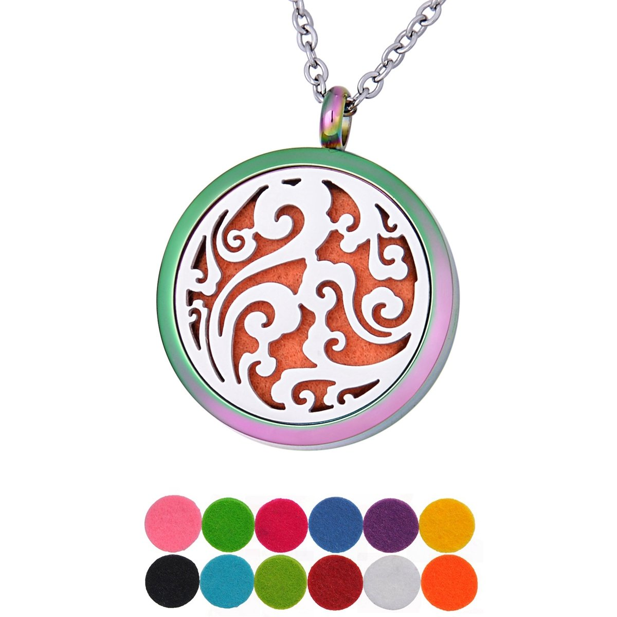 QX Essential Oil Diffuser Necklace Clouds Aromatherapy Locket Pendant Jewelry Teen Girls Gifts - Round 30mm