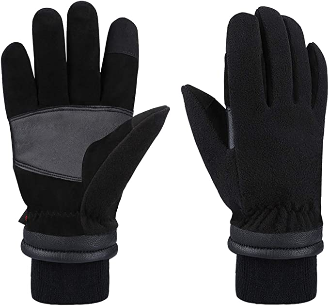 UK Men/'s Winter Warm Suede Leather Fleece Lined Thermal Touch Screen Work Gloves
