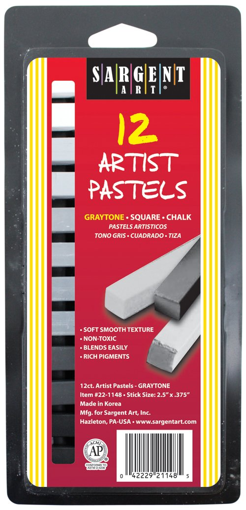 Sargent Art 22-1148 12-Count Graytone Square Pastels Peggable