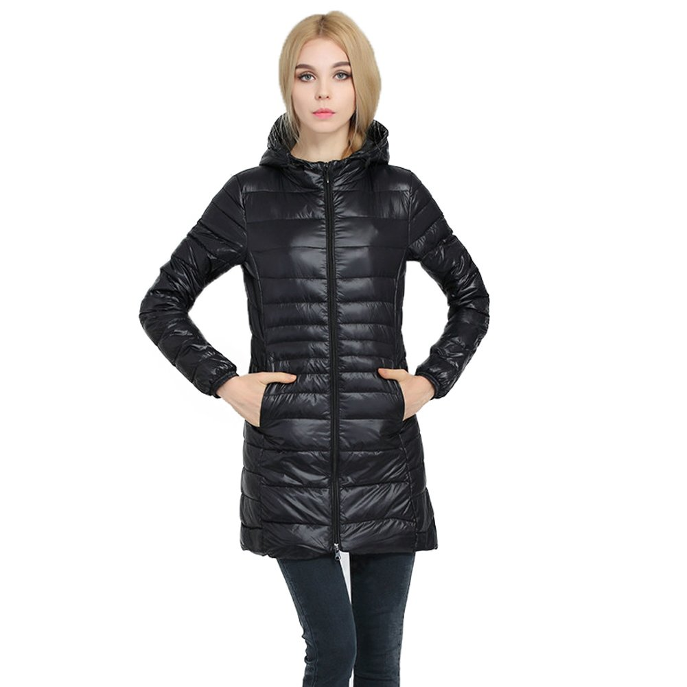 Caracilia Women's Plus Size Lightweight Packable Hooded Long Down Outwear Jacket - X-Small - Black