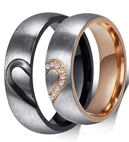 9e62ffa8f1 Amazon.com: SAINTHERO Mens Womens Forever Love Promise Band Ring Classic  6MM 316L Stainless Steel Hearts Couples Rings for His or Hers Mate Finish  Comfort ...