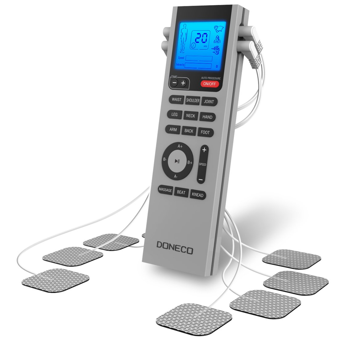 DONECO Electronic Pulse Massager - Portable TENS Unit with Adjustable Speed and Intensity for Muscle Pain Relief - Features 4 Outputs, 8 Pads and LCD Display Screen - High Quality, Batteries Included by DONECO