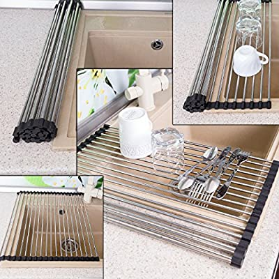 """Roll-Up Dish Drying Rack 20""""(L) x 16""""(W) (50 x 40cm) - Foldable Multipurpose Heat Resistant Large Stainless Steel Kitchen Rollup Dish Drainer Over Sink Mat - Silicone Coated Rims"""