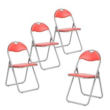 Lot De 4 Pliante Chaise De Bureau Simili Cuir Rembourr Assise De