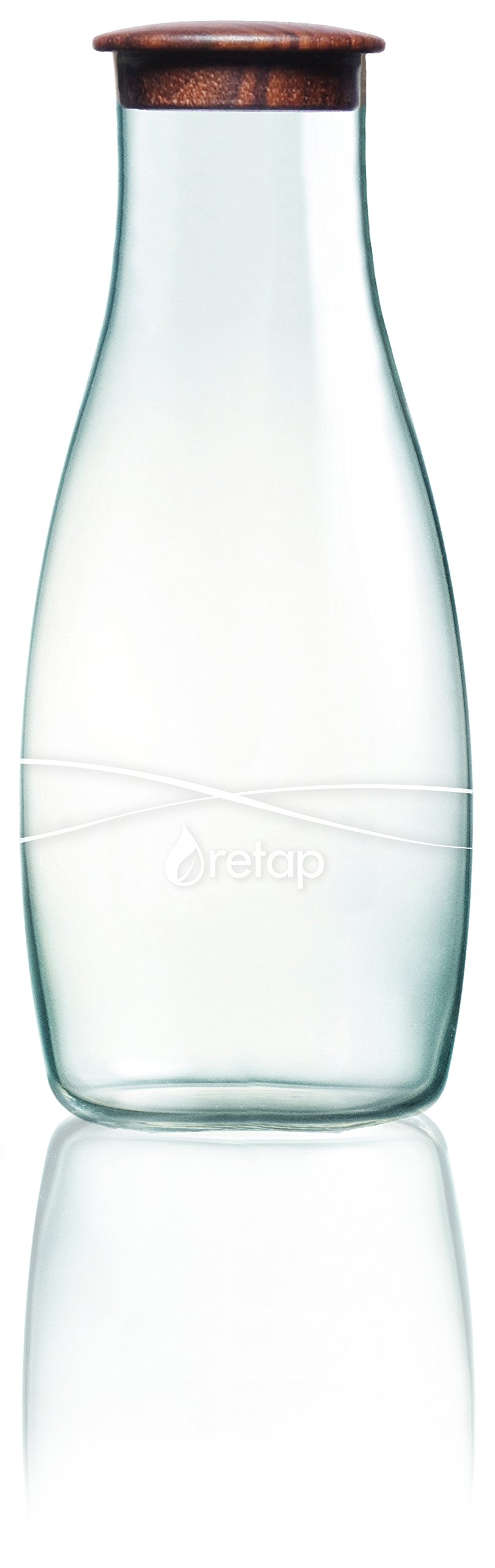 Retap Borosilicate Glass Water Carafe, Walnut Wood, 42 oz by Retap (Image #1)