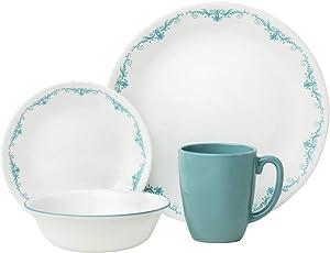 Corelle Garden Lace Chip & Break Resistant 16pc Dinner Set, Service for 4, 29 x 29 x 14.5 cm, Turquoise