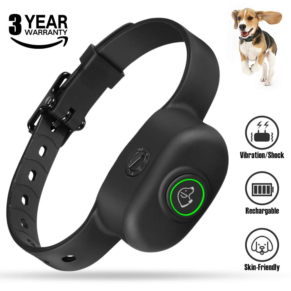 KeShi Dog Bark Collar - Anti Bark Collar Premium Silicone Neck Strap, 5 Levels' Vibration & Static Shock Collar, Rechargeable No Bark Collar for Small, Medium and Large Dogs Waterproof