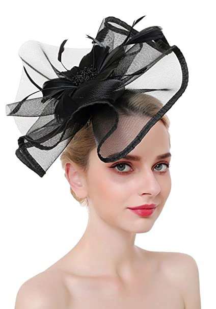 Z X Fascinator Hat Flower Feather Mesh Net Veil Derby Hat with Clip  Hairband for Women Black 17ea8c995c8
