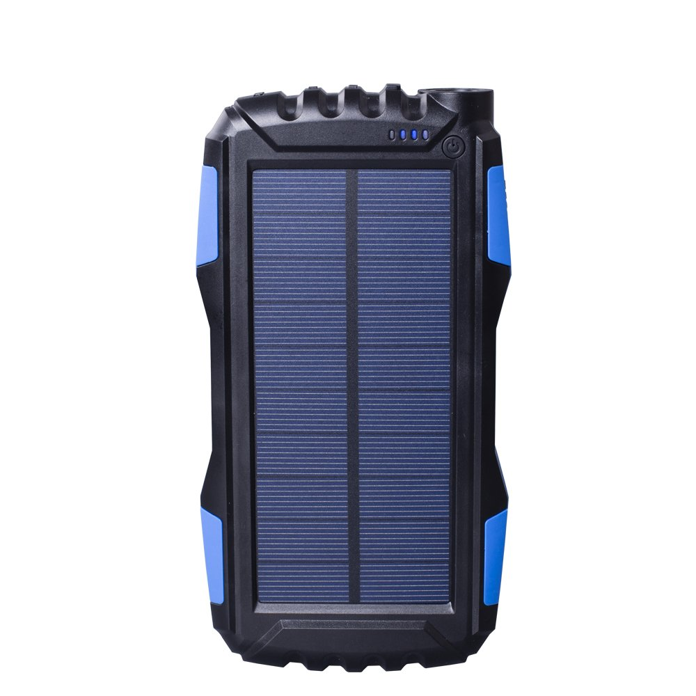 Solar Charger, Zonhood 25000mAh Power Bank Solar Phone Charger, Portable External Battery Pack with Dual USB Ports and LED Flashlight Shockproof/Dustproof for Smartphones and More 4336668405