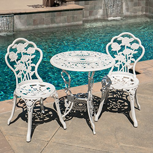 Belleze Bistro Outdoor 3 Piece Patio Set Rose Design Weather Resistant Round Table 2 Chairs White Cast Garden Furniture Bistro Table Chair Set