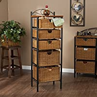 Iron and Wicker Five-Drawer Unit with Spacious Countertop, Soft Country Style, Made out of Durable MDF, Veneer, Wicker and Light Round Pipe, Can be Used in Various Rooms