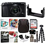 Fujifilm X-E3 Mirrorless Digital Camera w/XF23mm f/2 R WR Lens (Black) w/BLC Leather Case, 32GB Memory Card & Editing Software Bundle