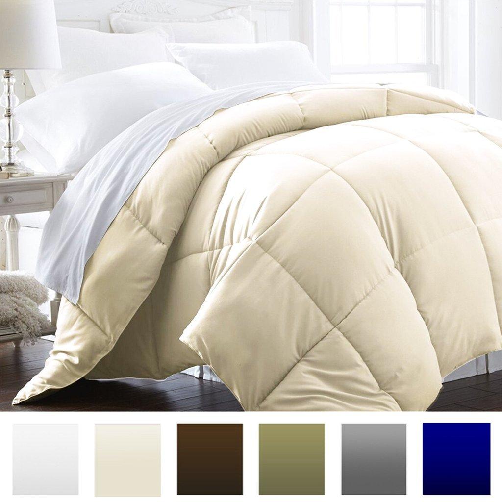 Beckham Hotel Collection 1600 Series - Lightweight - Luxury Goose Down Alternative Comforter - Hotel Quality Comforter and Hypoallergenic - Full/Queen - Cream