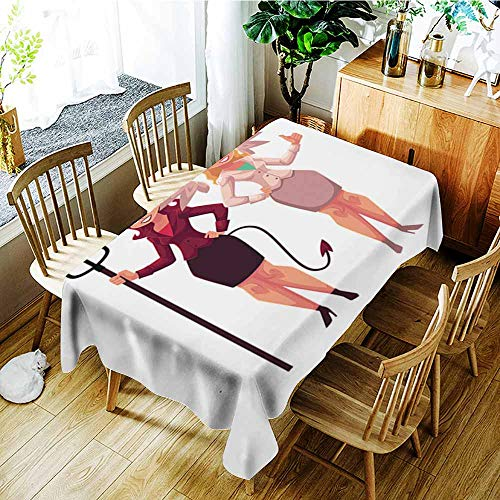 (Beihai1Sun Anti-Fading Tablecloths,Female Angel and Devil in Business Suits Decision Making Concept,High-end Durable Creative Home,W54x90L)