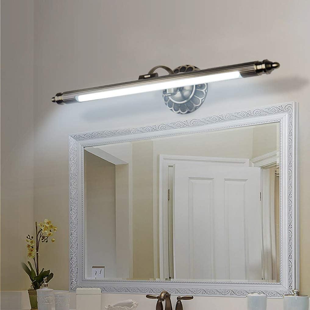 LED Spiegellampe Retro Spiegelleuchte Einstellbar Antik Metall Schminklicht Vintage Spiegelbeleuchtung Badezimmer Spiegelschrank Schminktisch Spiegellicht Wandleuchte,WarmWhiteLight90cm16W Coolwhitelight50cm8w