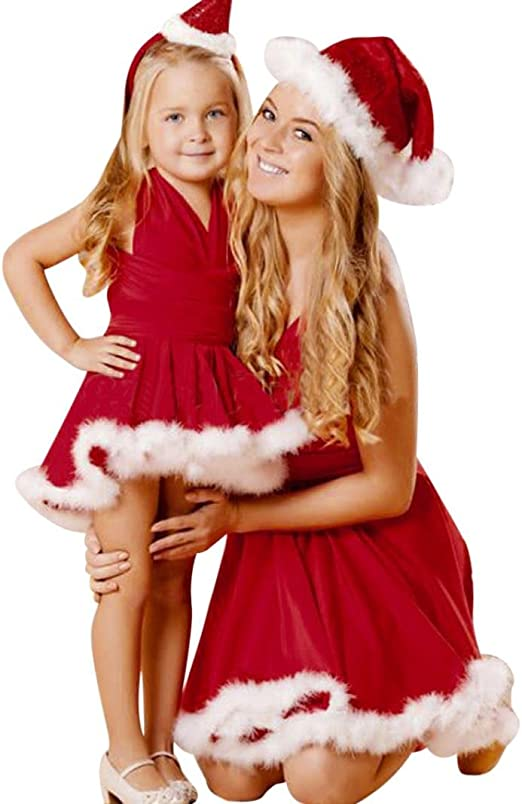 TLoowy Girls Santa Costumes Toddler Baby Christmas Clothes Party Dresses Hats Outfits