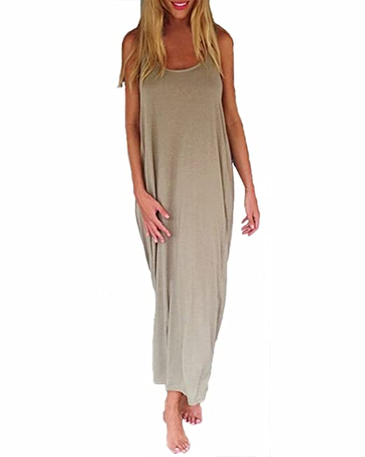 ad7c90d782 ZANZEA Women s Backless Strapless Baggy Casual Loose Beach Sundress Long  Top Maxi Dress Khaki UK 8