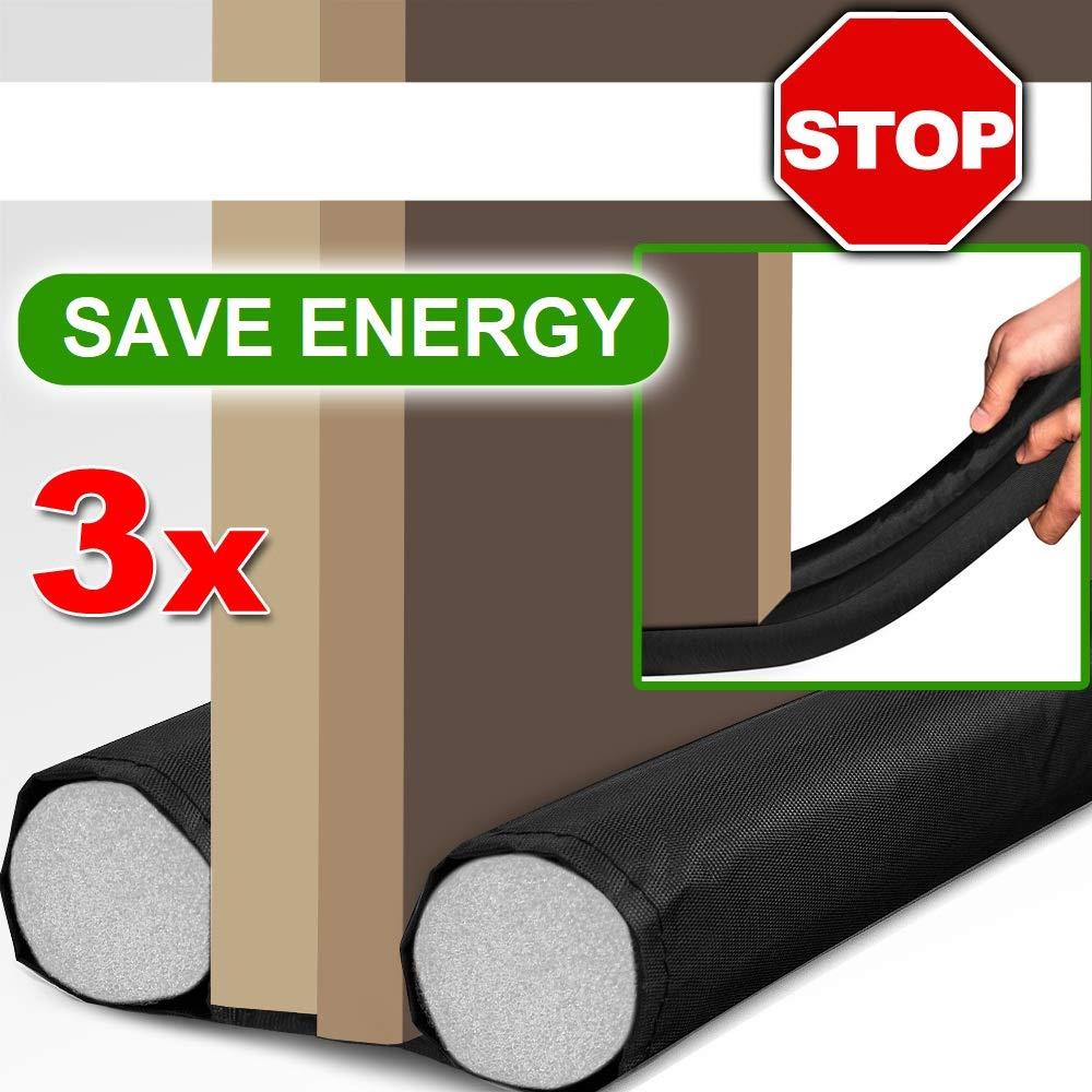 Burletes para puertas color negro 95 cm- Reducción de consumo energético y de calefacción, de corrientes de aire, polvo, suciedad, insectos, ...