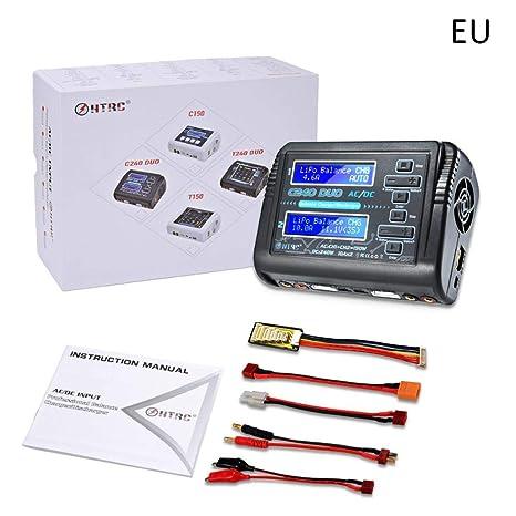 G-wukeer Cargador De Batería RC, HTRC C240 Duo AC 150W DC 240W Dual Channel 10A RC Balance Lipo Cargador De Batería, Práctico para Una Variedad De ...