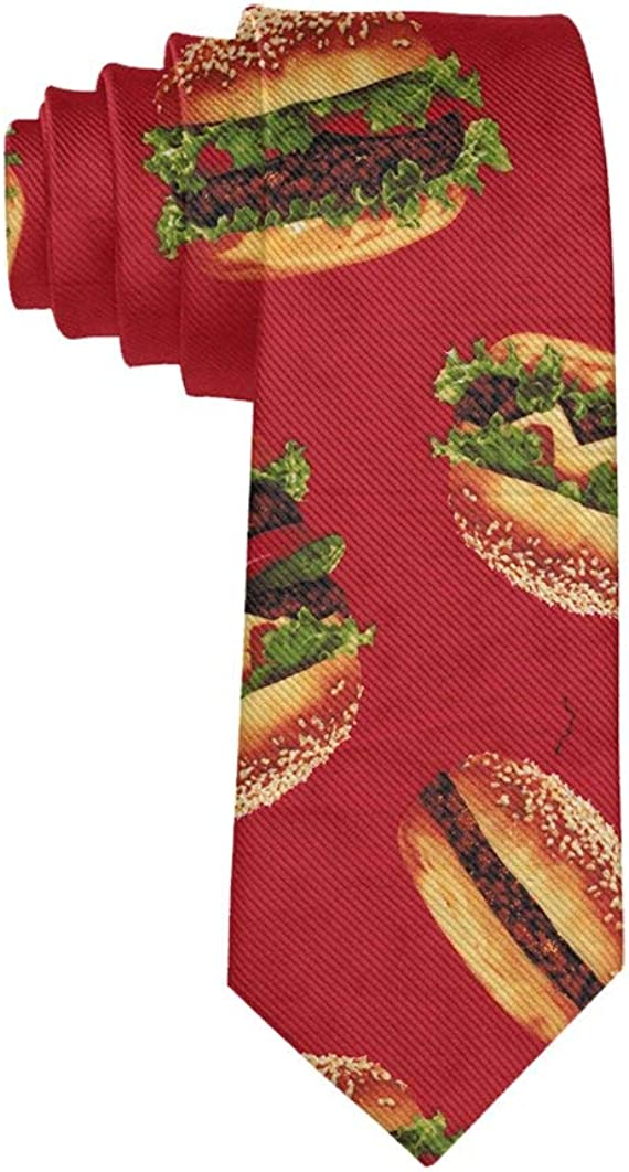 Men Tie Fashion Neckties Funny red Hamburger necktie Polyester Silk Novelty Neck Tie - One Size