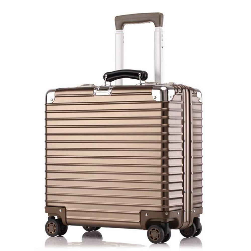 スーツケース超軽量アルミマグネシウム合金ビジネスミュートトロリーケースユニバーサルホイール便利なトラベルボックス搭乗荷物 43*21*47cm B07T4P4V27 Titanium