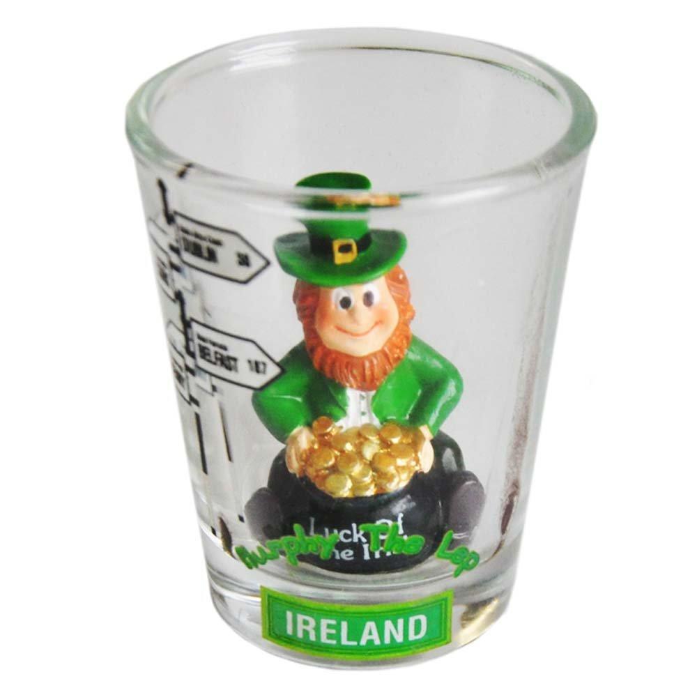 Murphy The Leprechaun Shot Glass with Irish Road Sign Design