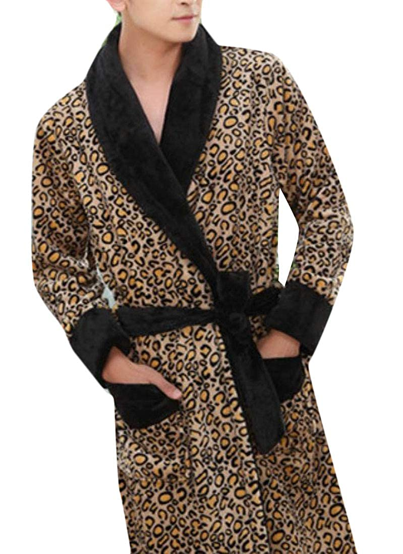 Pandapang Mens Flannel Nightie Robe Cozy Homewear Autumn Winter Bathrobes