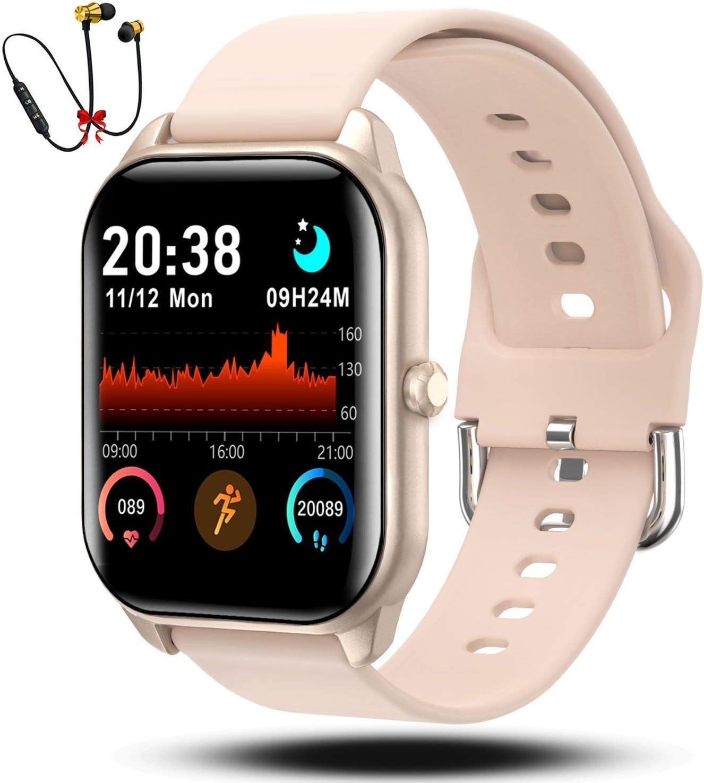 Smartwatch Reloj Inteligente Hombre Mujer Niños Monitor Pulso Cardiaco Pulsera Actividad Reloj Inteligente Cardio Podómetro Bluetooth Reloj Deportivo Rastreadores Cronómetro para Android iOS(Rosa)
